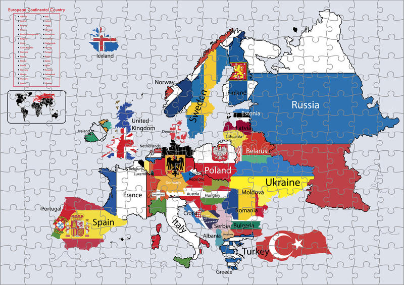 Europe Continental country flags and map Puzzle vector illustration