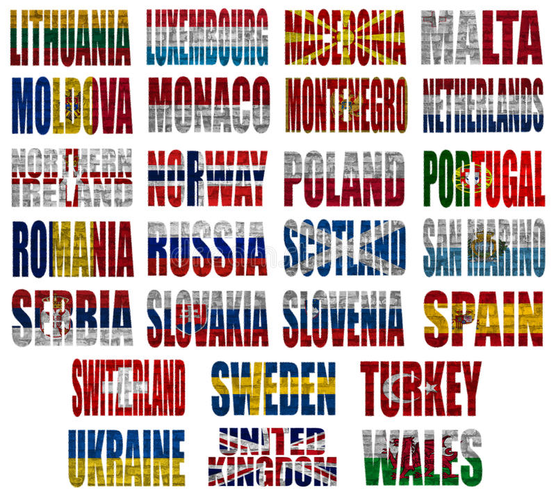 Europe countries flag words Part 2 stock illustration