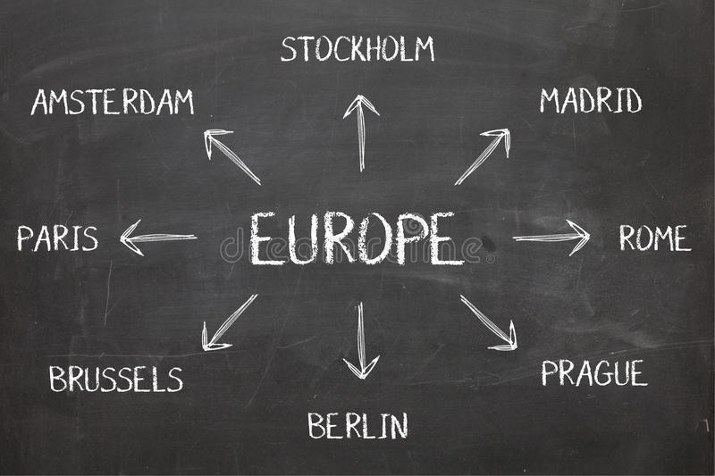Europe Diagram on Blackboard stock photography