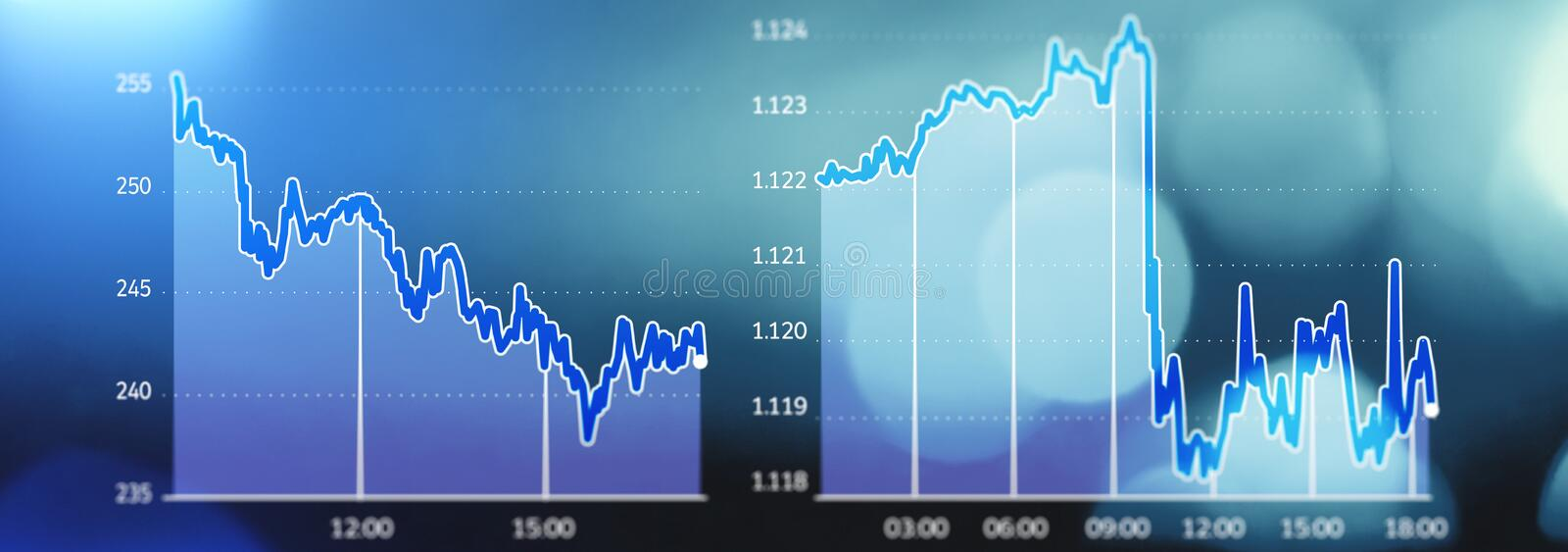 Stock market trends, market crash, lost earnings, bankrupt. Graphic display of market shares in free fall. Blue background. Europe Economy royalty free illustration