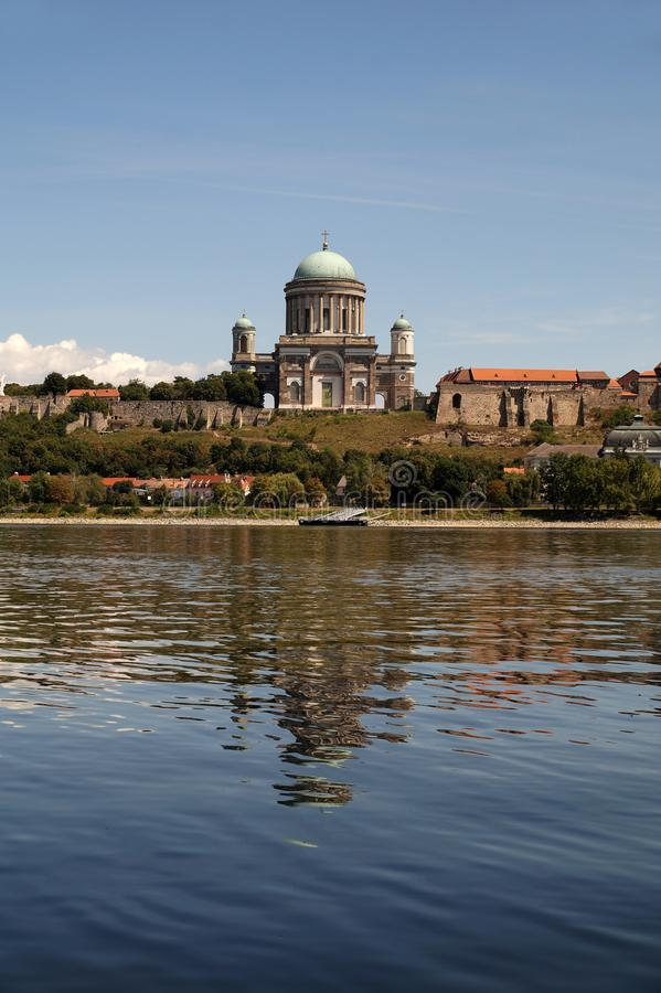 Europe. Esztergom, Hungary view of the huge Catholic basilica and royal castle of the first dynasty of the kings of Hungary. Esztergom, Hungary view of the huge stock photography