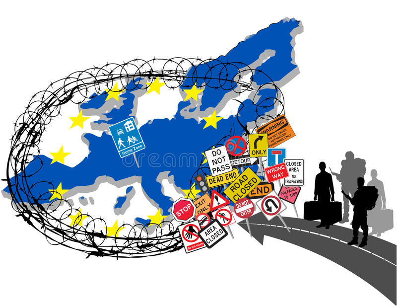 Europe (European Union) closing its borders due to migrant crisis. Vector illustration with barbed wire around Europe and stop stock illustration