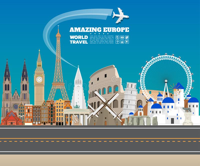 Europe famous Landmark paper art. Global Travel And Journey Info vector illustration