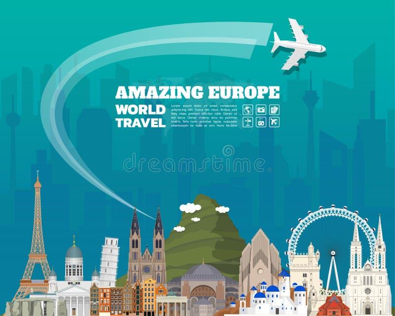 Europe famous Landmark paper art. Global Travel And Journey royalty free illustration