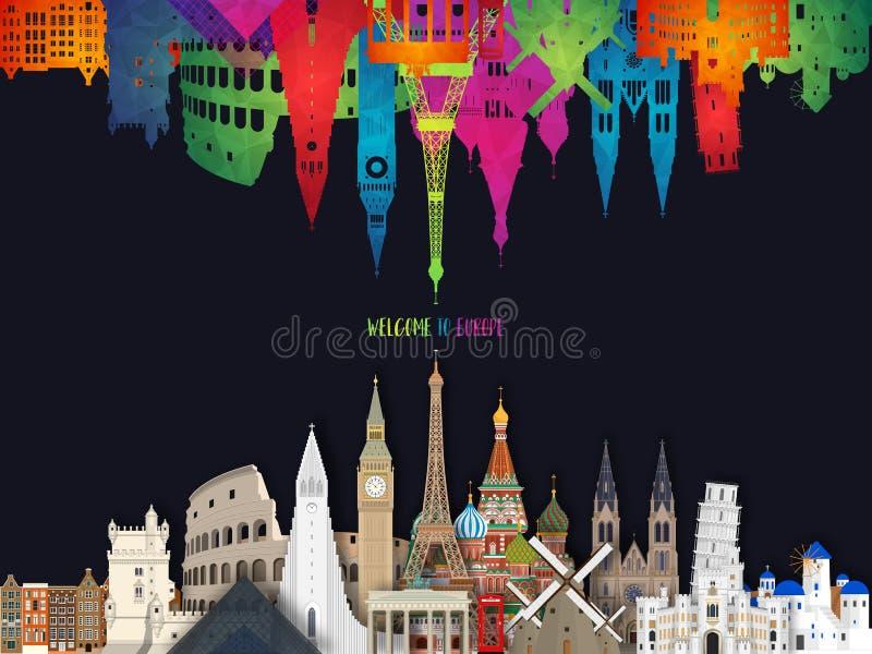 Europe famous Landmark paper art. Global Travel And Journey Infographic. Vector Flat Design Template.vector/illustration.Can be vector illustration