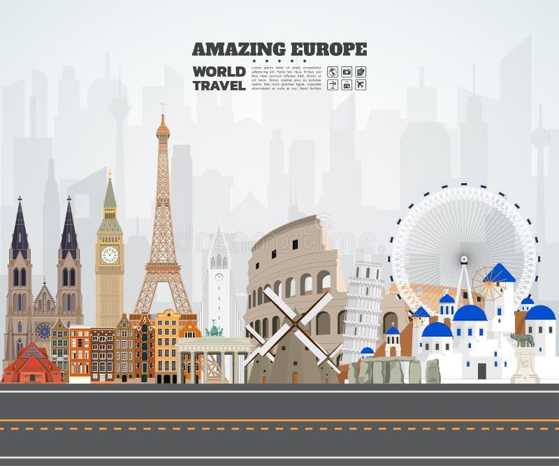 Europe famous Landmark paper art. Global Travel And Journey Info stock illustration
