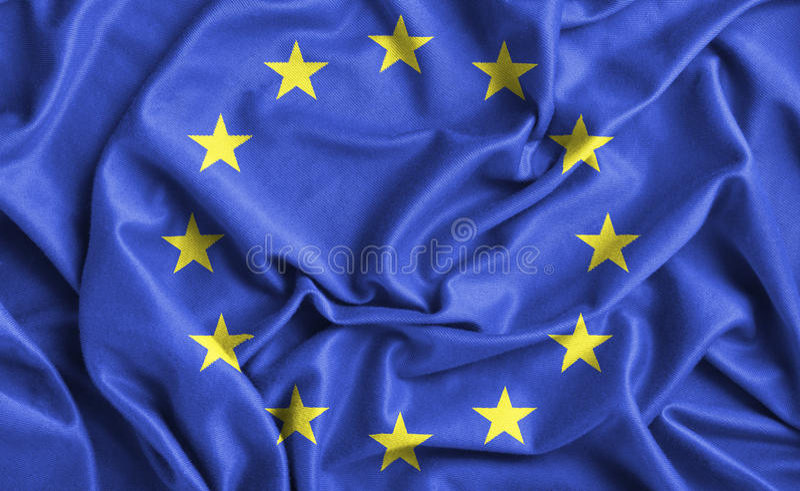 Europe flag. Closeup of ruffled Europe flag stock image