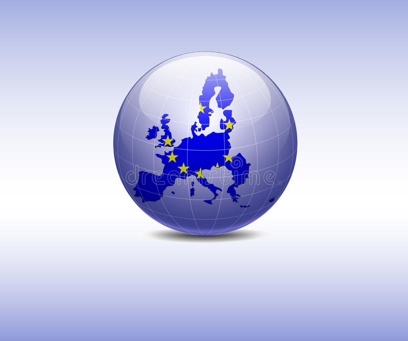 Europe Flag in the globe royalty free illustration