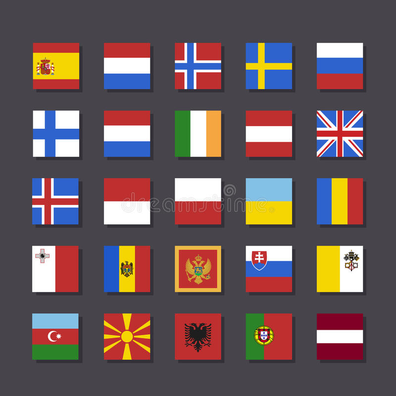 Europe flag icon set Metro style. Vector illustration stock image