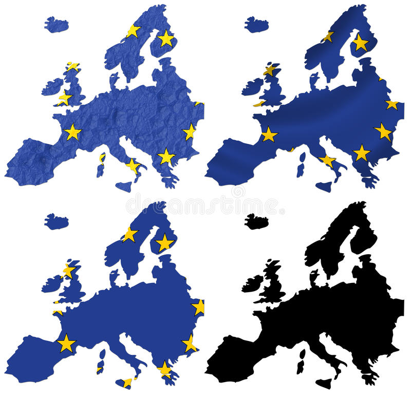 Europe flag over map collage