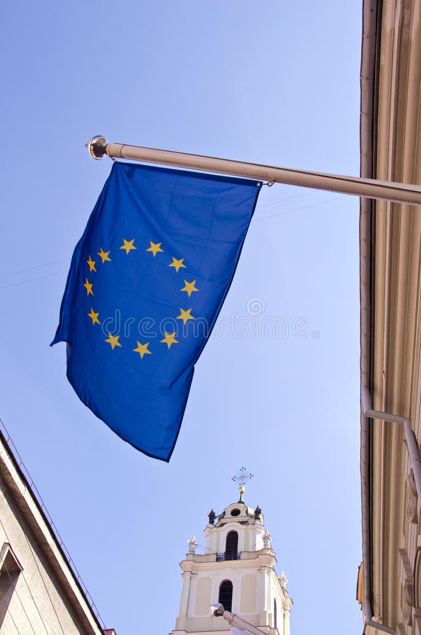 Europe Flag In Vilnius Old Town Royalty Free Stock Photography