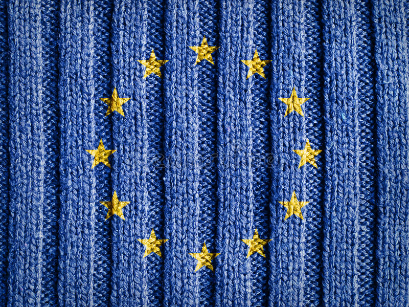Europe Flag On Wool Texture stock photography