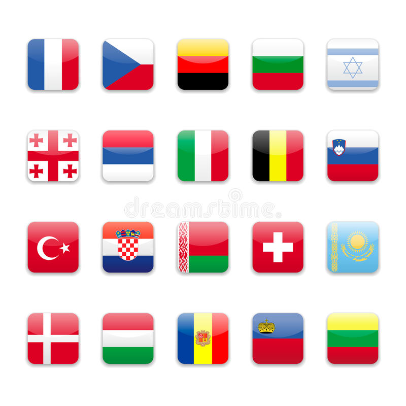 Europe flags a. Round Europe flags set A with shadow on white background vector illustration