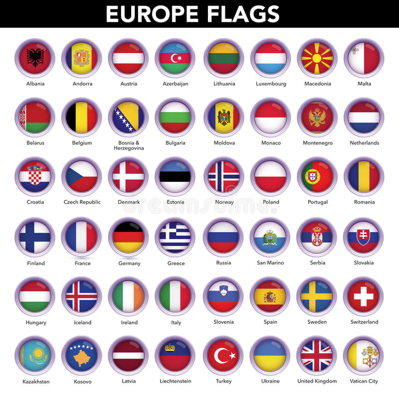 Europe Flags Collection royalty free stock photo