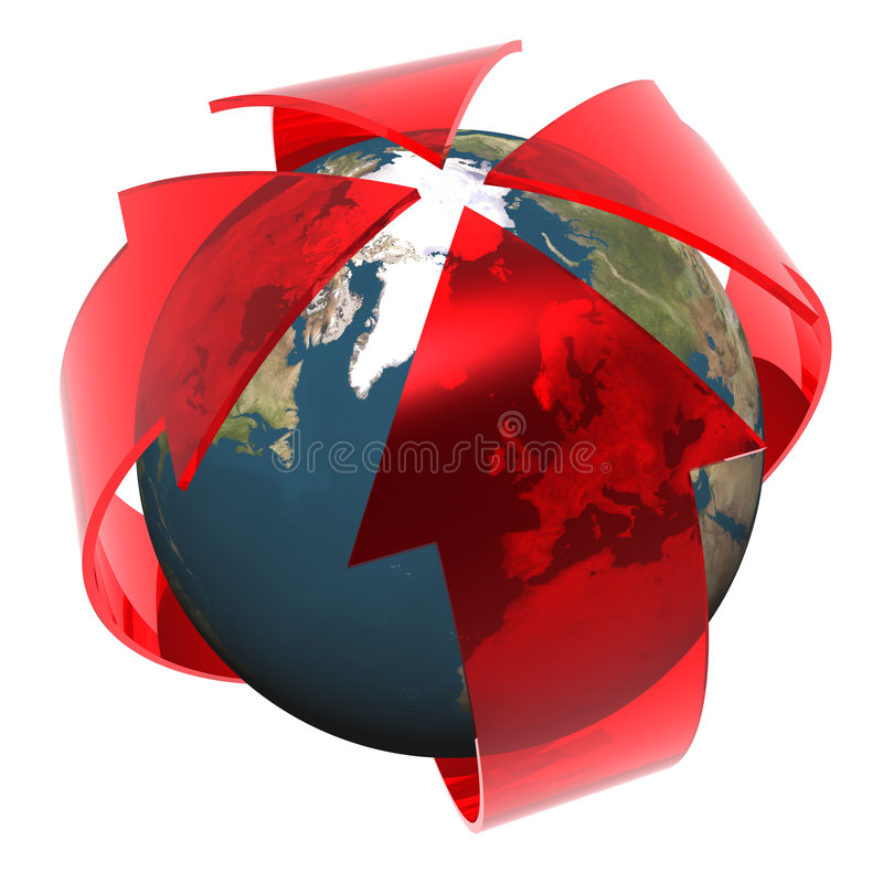 Europe and global warming. 3D render of abstract global warming danger stock illustration