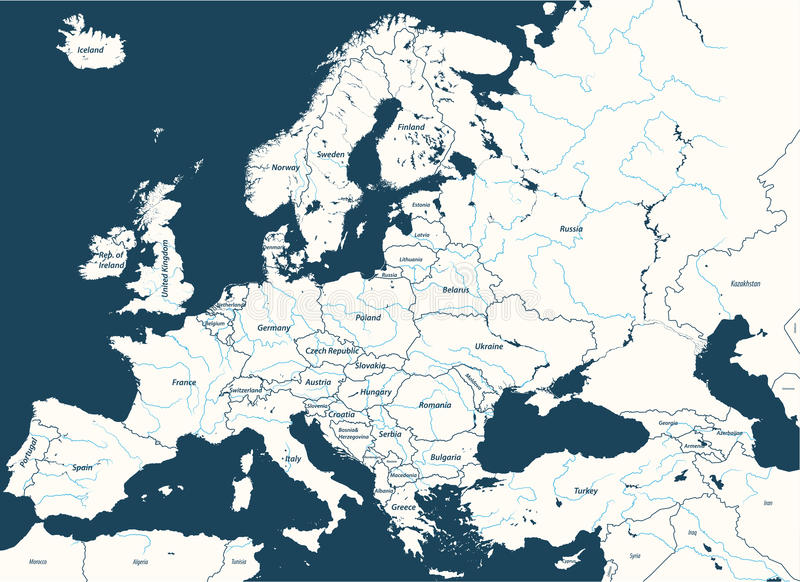 Europe high detailed political map with main rivers. All elements separated in detachable layers. stock illustration