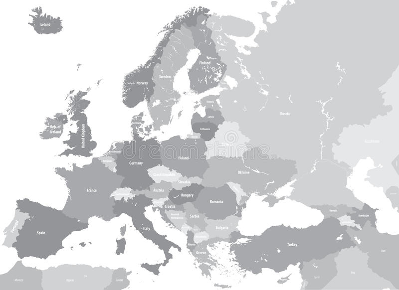 Europe high detailed vector political map. All elements separated in detachable and labeled layers stock illustration