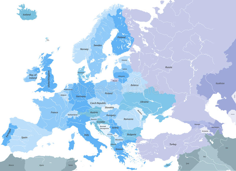 Europe High Detailed Vector Political Map With Country Names And - European rivers