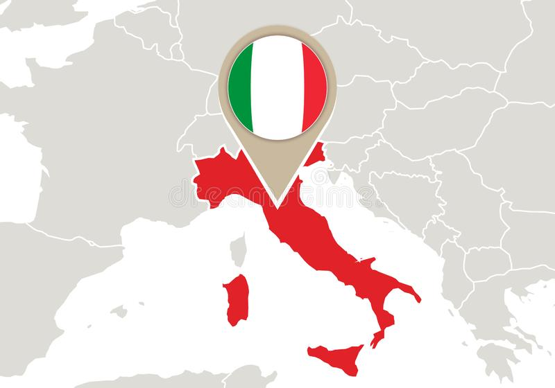 Italy on Europe map vector illustration
