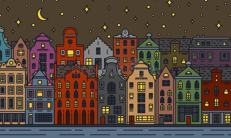 Europe house and apartments. Moon night in Amsterdam. Cute architecture in Amsterdam. Neighborhood with classic street vector illustration