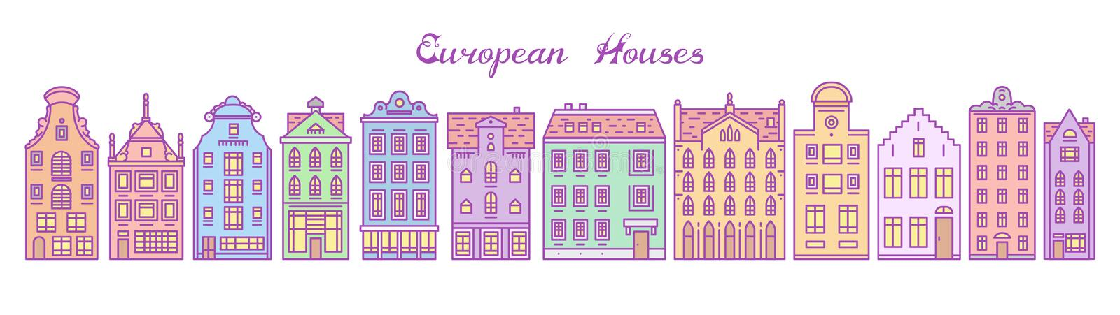 Europe house and apartments. Set of cute architecture in Amsterdam. Neighborhood with classic street and cozy homes vector illustration