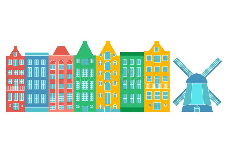 Europe house or apartments. Set of cute architecture in Netherlands.  colorful old houses Amsterdam. Colorful vector illustration
