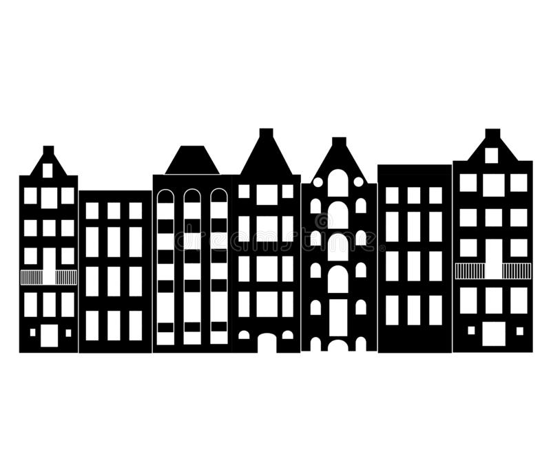 Europe house or apartments. Set of cute architecture in Netherlands.  old houses Amsterdam silhouette. Black white vector illustration