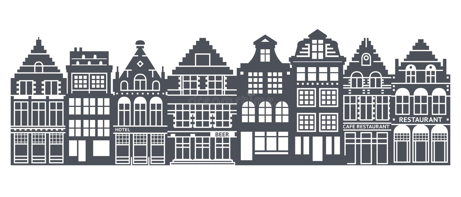 Europe house or apartments set. Cute architecture in Netherlands. Vector illustration vector illustration