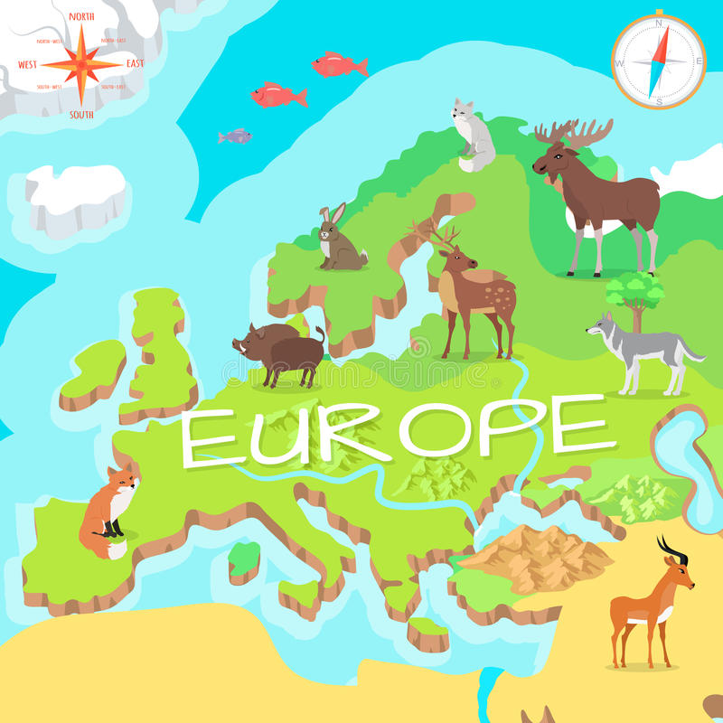 Europe Isometric Map with Flora and Fauna. Vector. Europe isometric map with flora and fauna. Cartography concept with nature. Geographical map with local fauna royalty free illustration