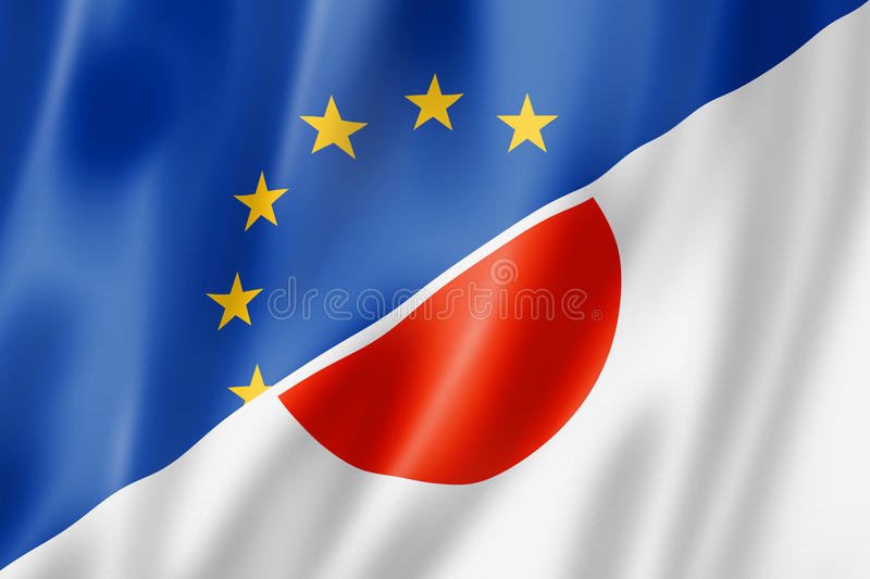 Europe and Japan flag vector illustration