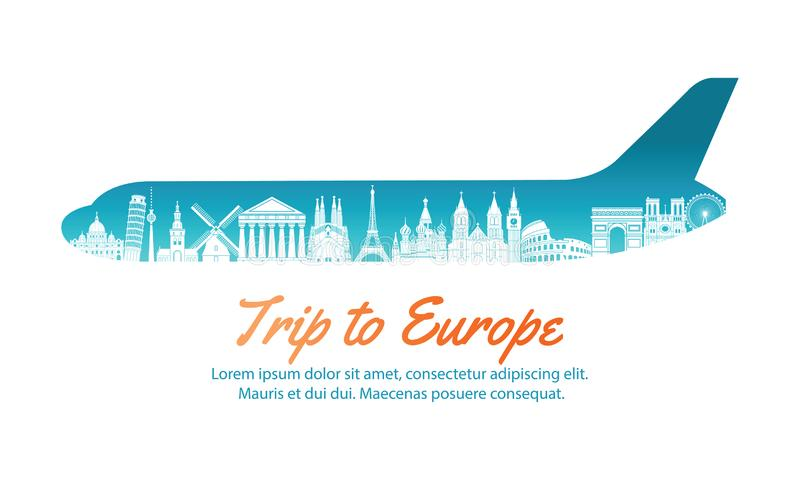 Europe landmark inside with plane shape,concept art silhouette. Style,vector illustration,green blue gradient,vector illustration stock illustration