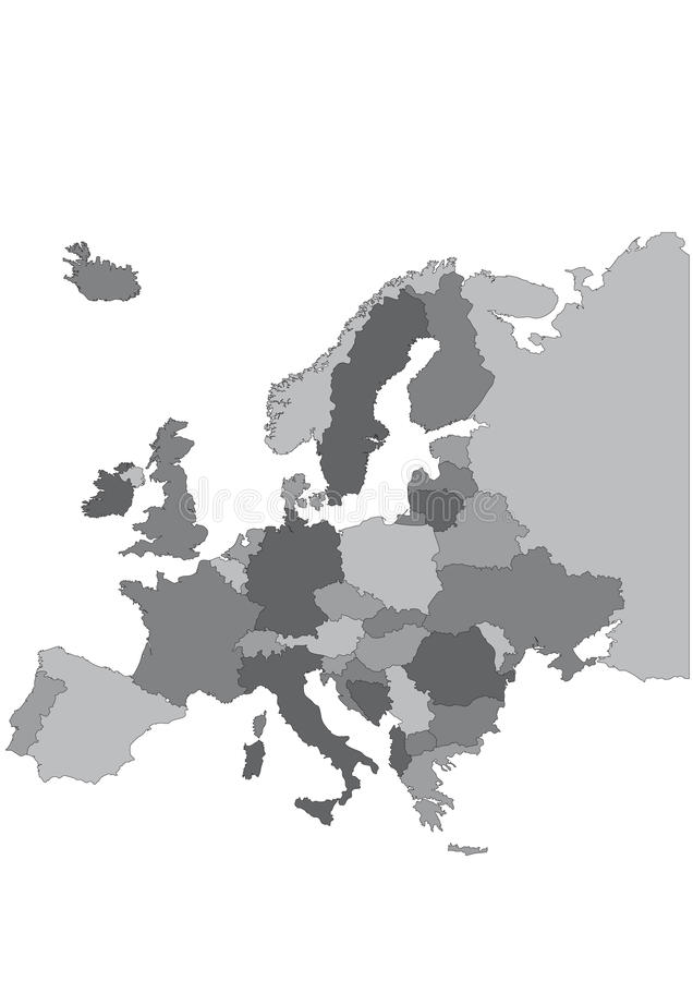Europe map. Highly detailed in grey stock illustration