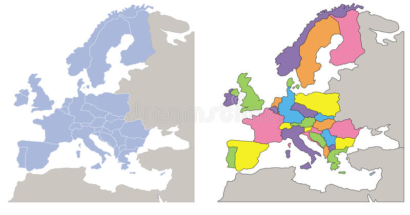 Europe map. Two europe maps: one soft coloured in light blue and one with colorful countries. Eps available vector illustration