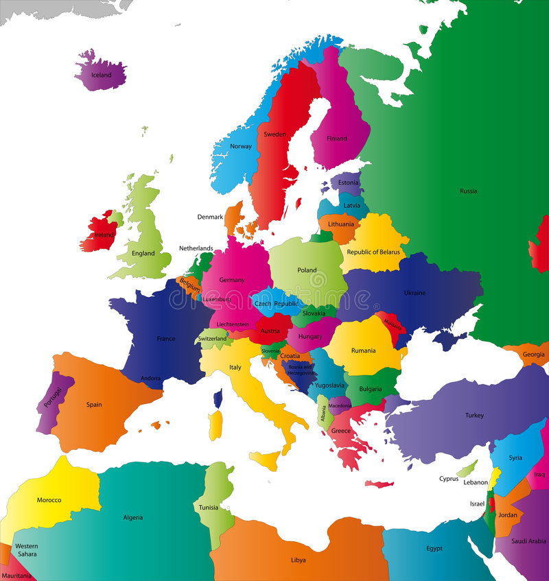 Europe map. Europe colour vector map with the signed countries. (.eps file - high resolution royalty free illustration