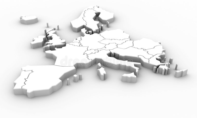 Europe map. White Europe map om white vector illustration