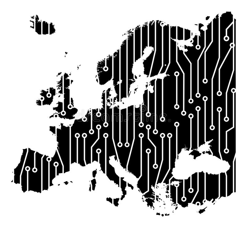 Europe map circuit board concept background wallpaper royalty free illustration