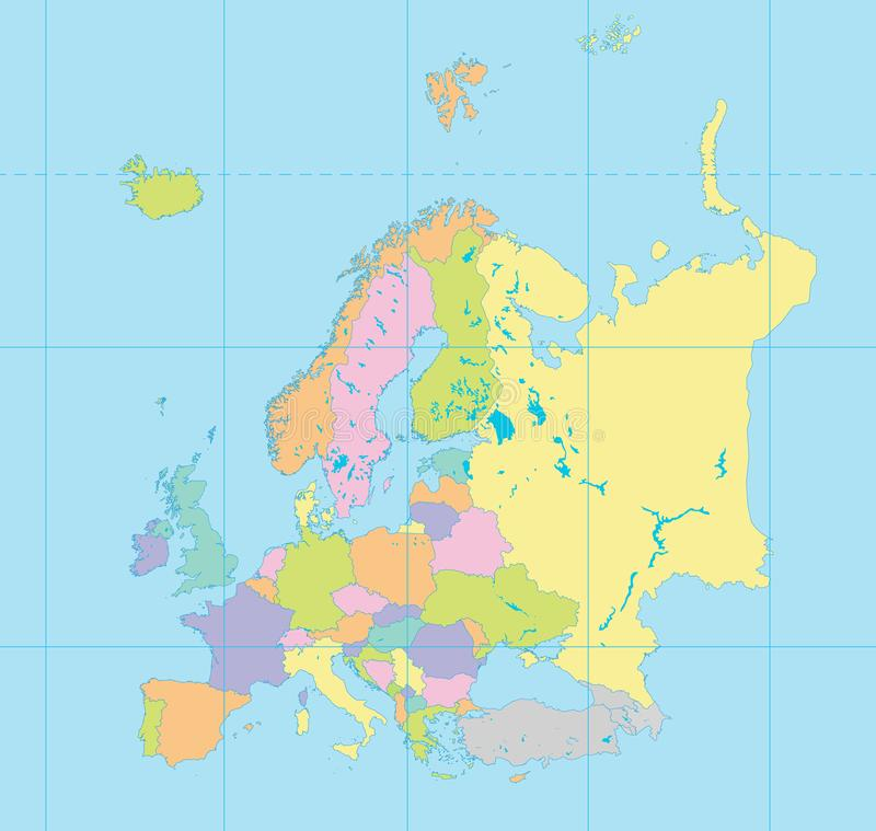 Europe Map Coordinates Stock Illustrations – 219 Europe Map ...