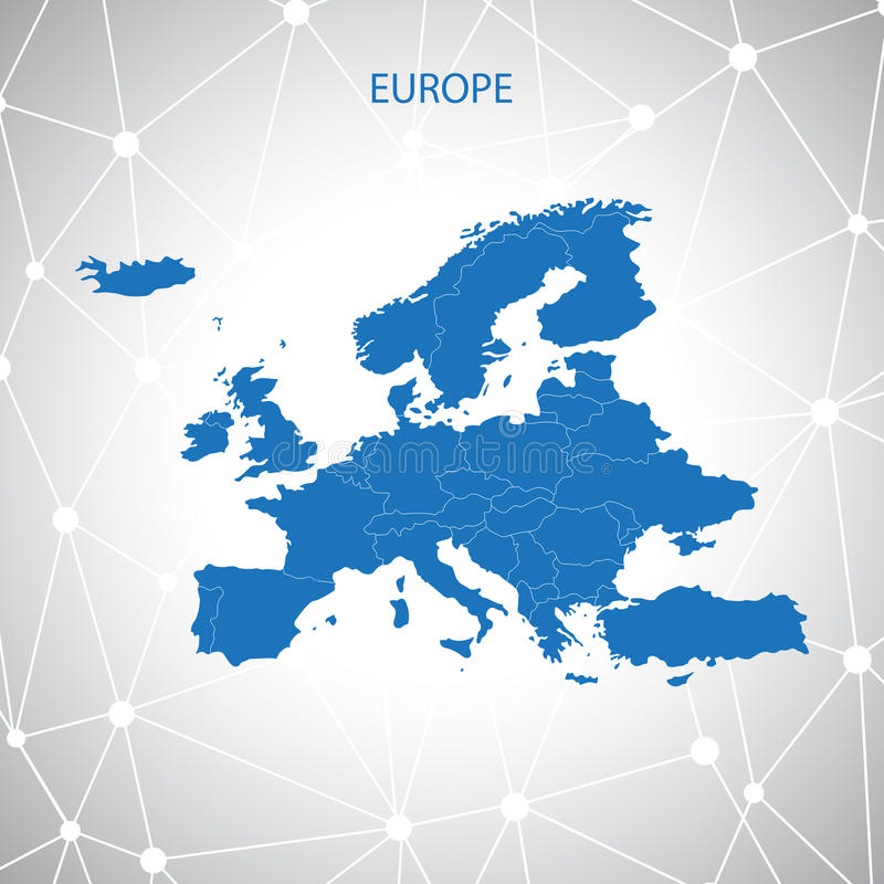 Europe modern map stock vector. Illustration of points ...