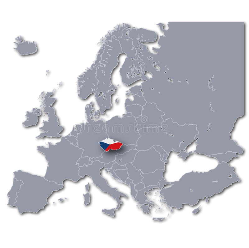 Europe Map With Czech Republic Stock Illustration Illustration of