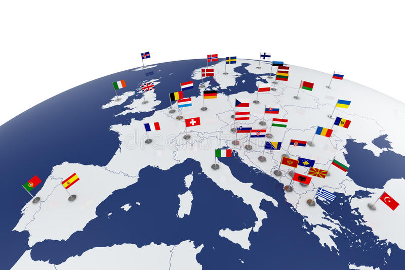 Europe map. 3d render of Europe map with countries flags