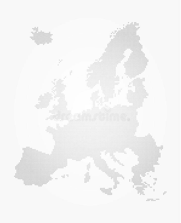 Europe map dot style on gray gradient background . Vector stock illustration