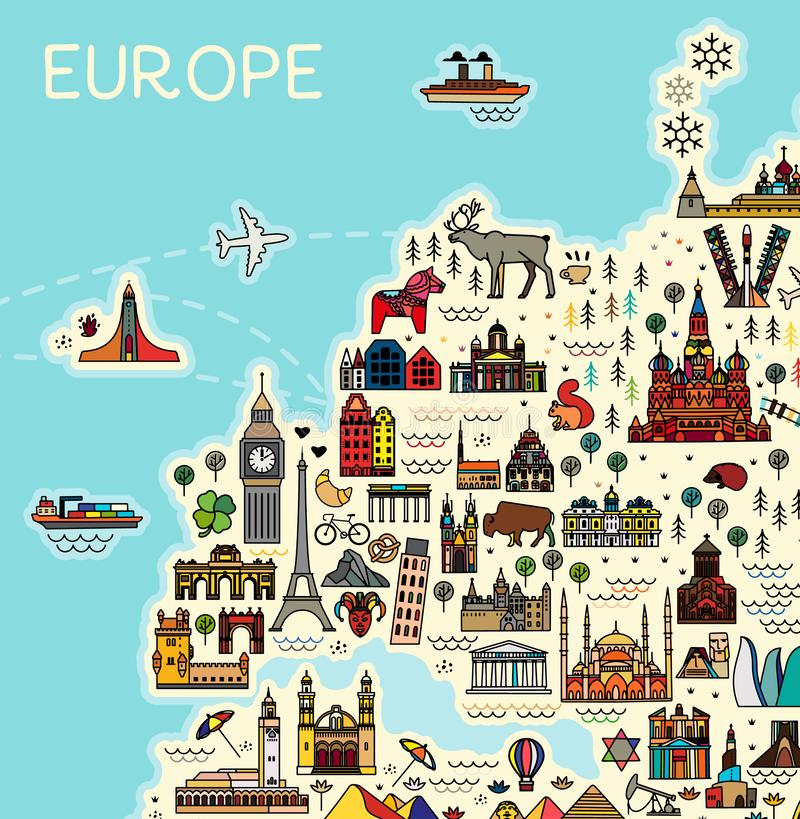 Europe Map with Famous Sightseeing. Travel Guide. Vector royalty free illustration