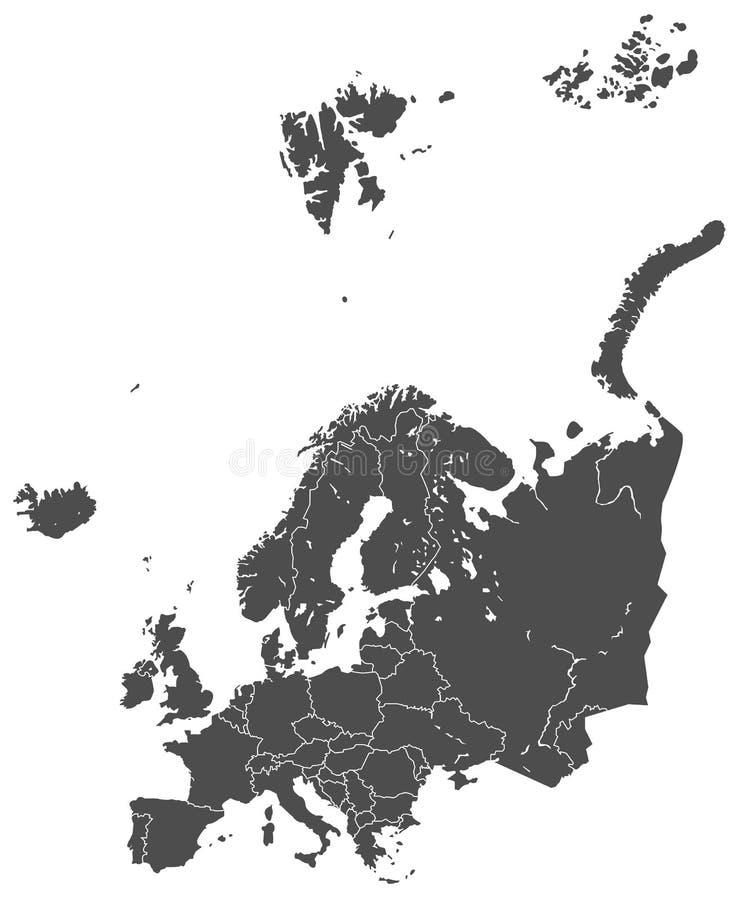 Europe map vector grey royalty free illustration