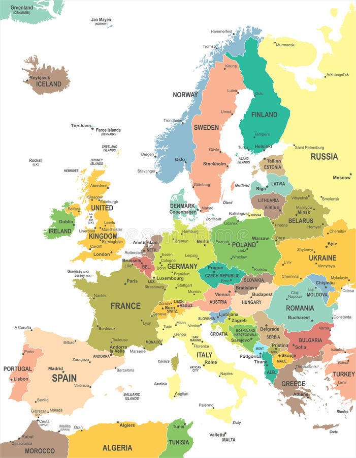 Europe - map - illustration. Europe map - highly detailed vector illustration vector illustration