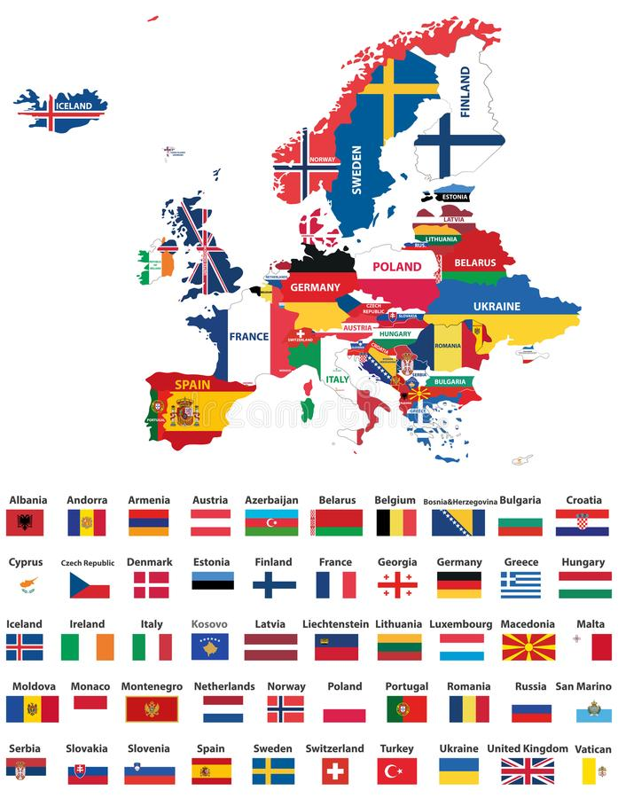 Europe map mixed with countries national flags. All european flags vector collection. Europe map mixed with countries national flags. All european flags vector illustration