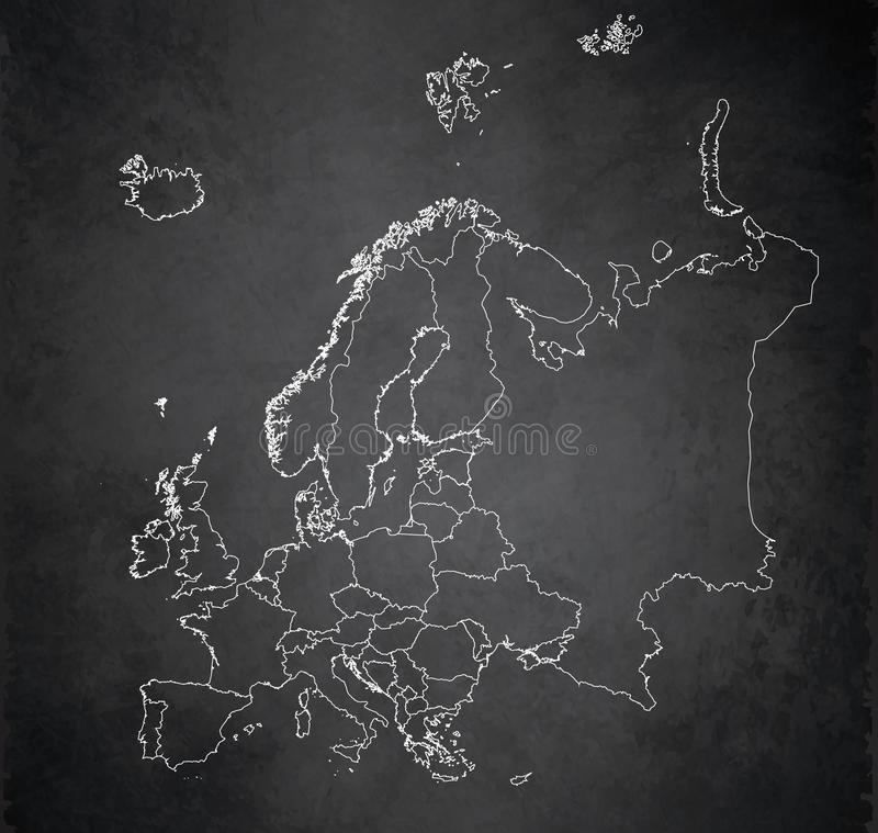 Europe map, new political detailed map, separate individual states, with state names, background blackboard school chalkboard. Blank vector template royalty free illustration