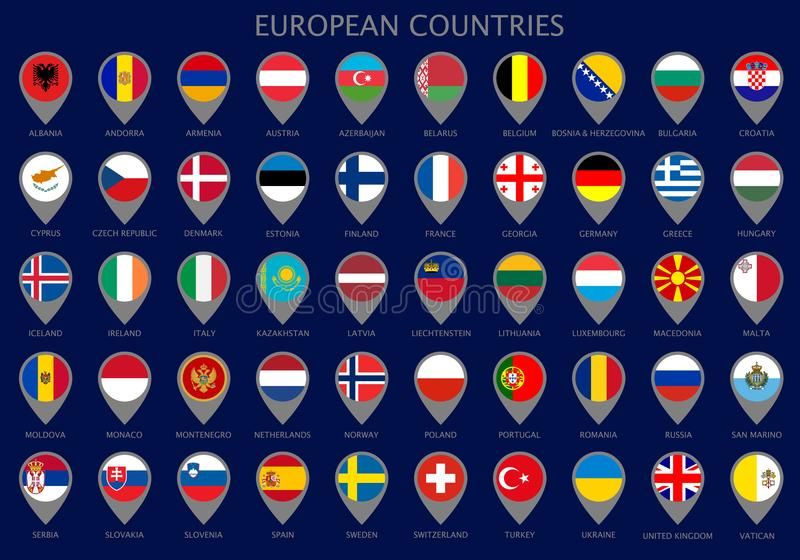 Map pointers with all flags of the European countrie stock illustration