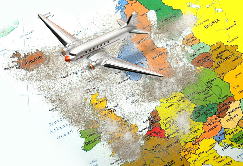 Europe map with volcano dust 3. Europe map with volcano dust erupted in Iceland and airplane royalty free stock photography