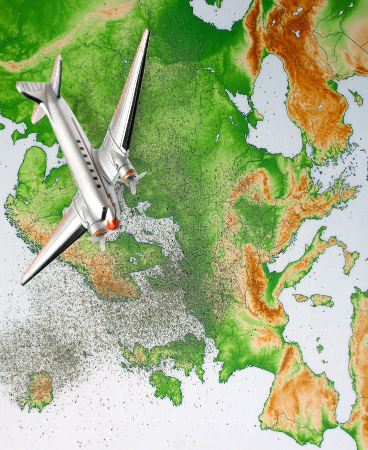 Europe map with volcano dust 4. Europe map with volcano dust erupted in Iceland and airplane stock photos