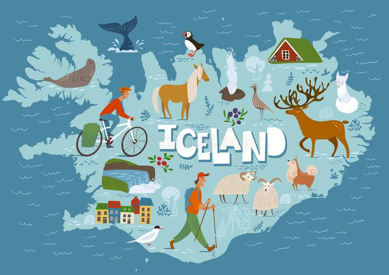 Travel vector map of Iceland with animals and landscapes. vector illustration